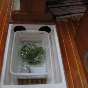 i rummet kan stå en kurv til f.eks. grønsager